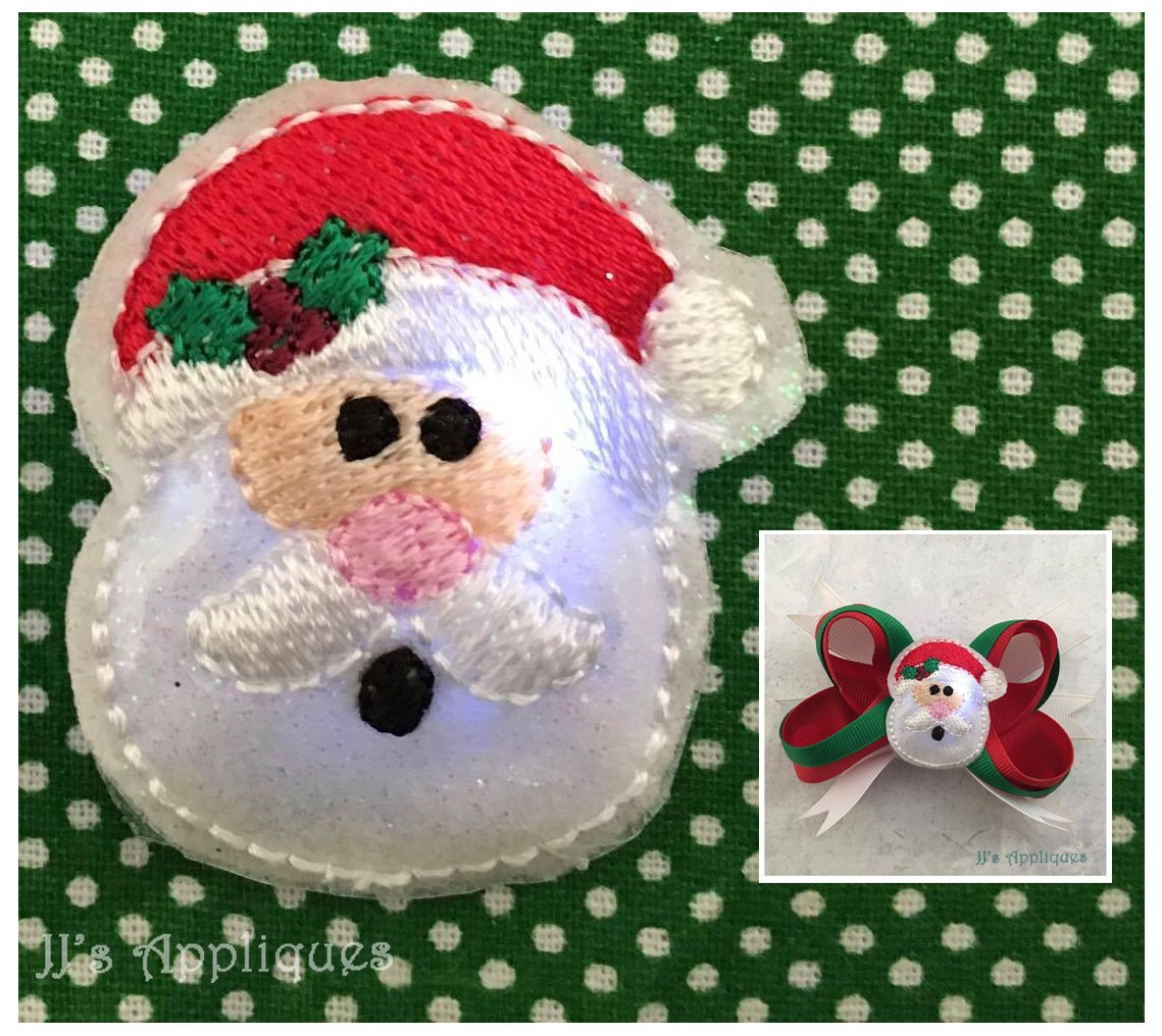 Flashing Santa Face Feltie Jjs Appliqus Machine Embroidery