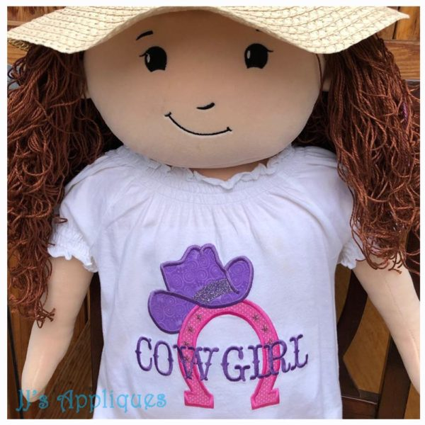 Cowgirl over Horseshoe with Hat